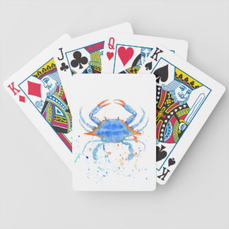 Watercolor blue crab paint splatter bicycle playing cards
