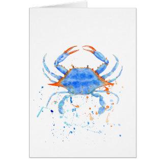 Watercolor blue crab paint splatter card
