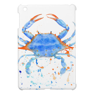 Watercolor blue crab paint splatter iPad mini case