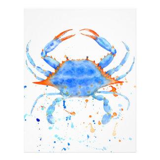 Watercolor blue crab paint splatter letterhead