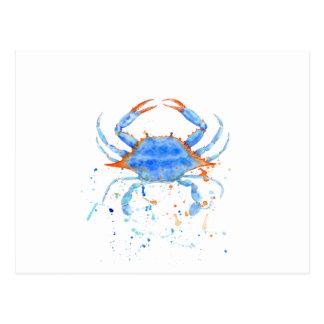 Watercolor blue crab paint splatter postcard