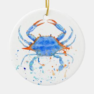 Watercolor blue crab paint splatter round ceramic ornament