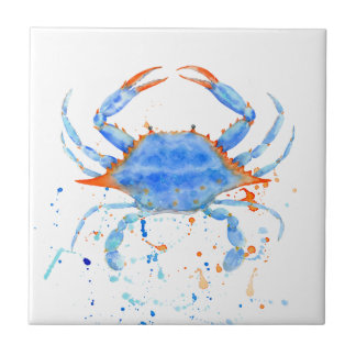 Watercolor blue crab paint splatter tile