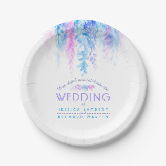 Watercolor blue custom wedding plates
