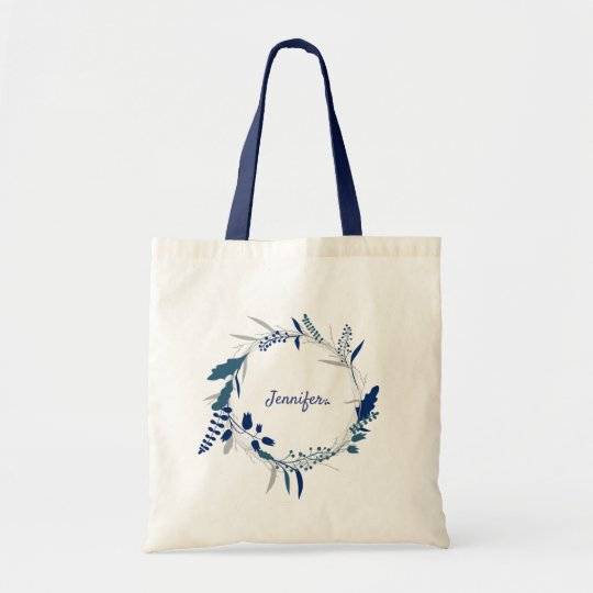 Watercolor blue floral flowers personalized tote bag
