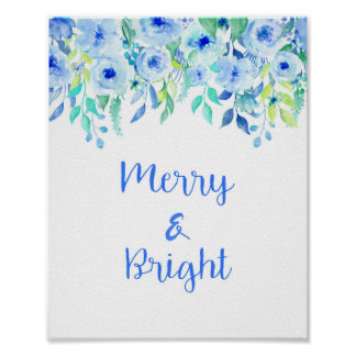 """Watercolor Blue Flowers """"Merry & Bright"""" Poster"""