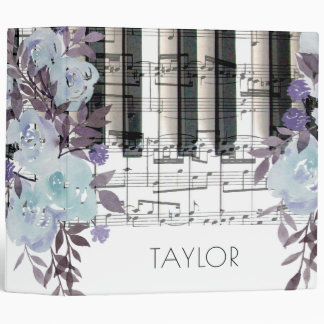 watercolor blue flowers music piano keyboard notes binders