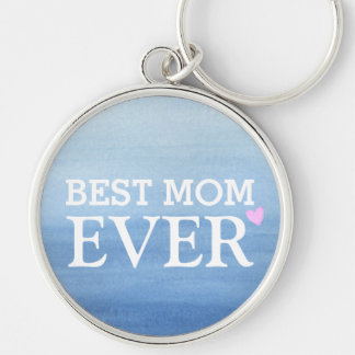 Watercolor Blue Gradient Pink Heart Best Mom Ever Silver-Colored Round Keychain