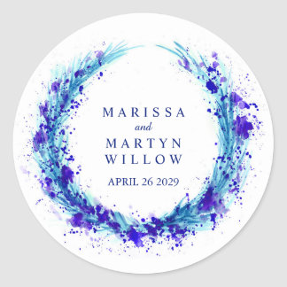 Watercolor blue grass wreath wedding name stickers