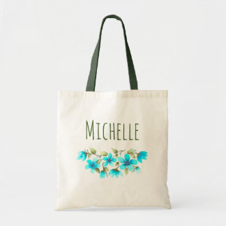 Watercolor Blue Green Floral Name