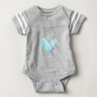 Watercolor blue heart baby bodysuit