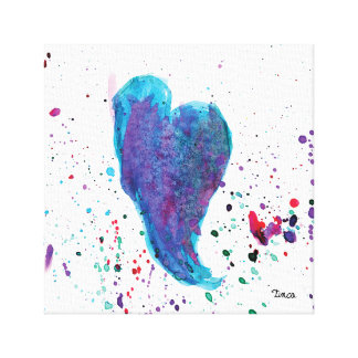 Watercolor Blue Heart Canvas Wall Art Print
