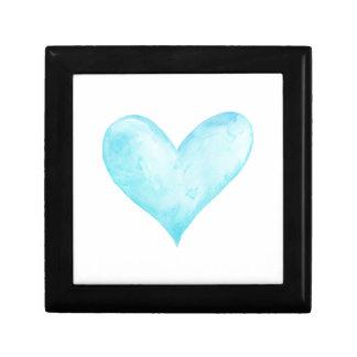 Watercolor blue heart gift box