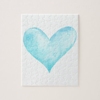 Watercolor blue heart jigsaw puzzle