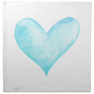 Watercolor blue heart napkin