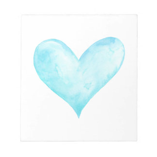 Watercolor blue heart notepad