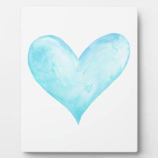 Watercolor blue heart plaque