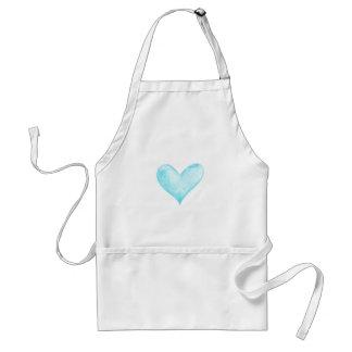Watercolor blue heart standard apron