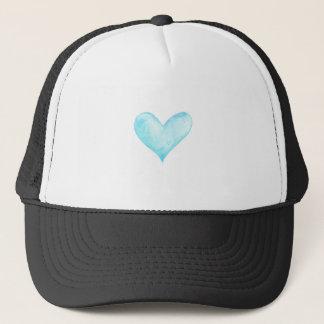 Watercolor blue heart trucker hat