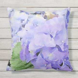 Watercolor Blue Hydrangea Outdoor Throw Pillow