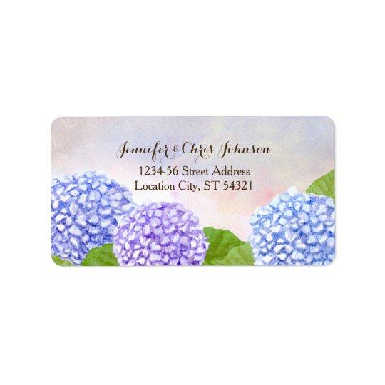Watercolor Blue Hydrangea Wedding Label