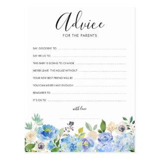 Watercolor Blue Hydrangeas Advice for the Parents Postcard