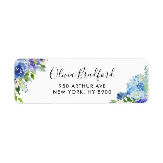 Watercolor Blue Hydrangeas Floral