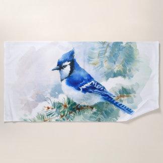 Watercolor Blue Jay Beach Towel