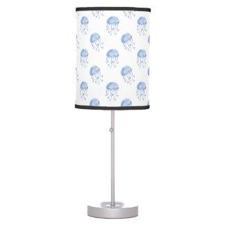 watercolor blue jellyfish beach design table lamps