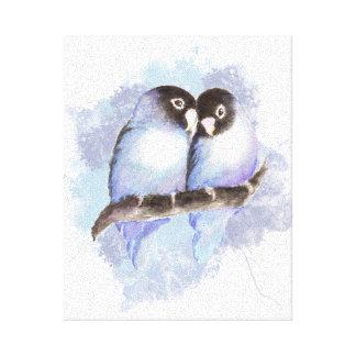 Watercolor Blue Lovebirds Canvas Print