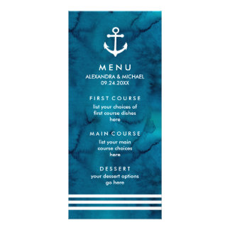 Watercolor Blue Nautical Wedding Menu