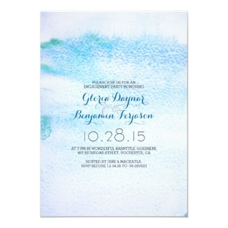 Watercolor Blue Ombre Engagement Party Invitation