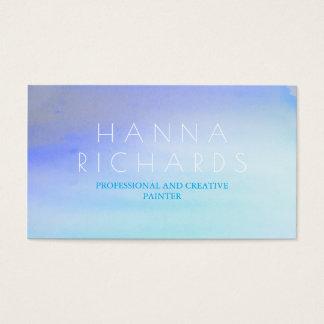 Watercolor Blue Ombre Modern Beach Business Card
