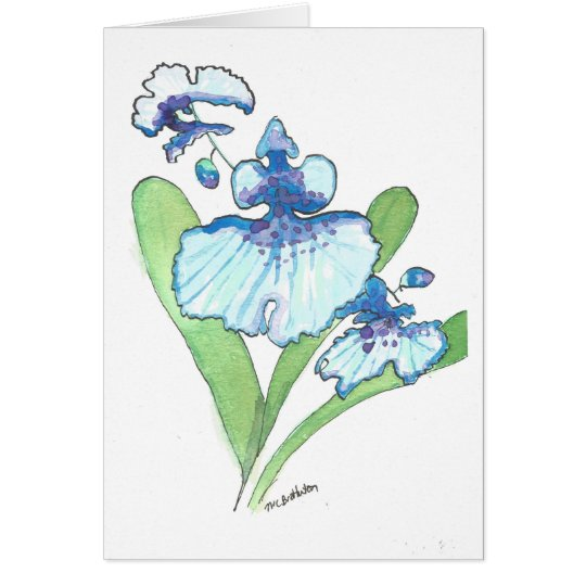 Watercolor Blue Orchid Greeting Card w/envelope