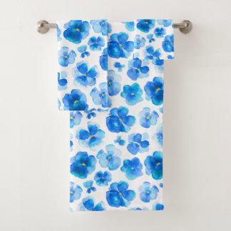 Watercolor blue pansies violas towels