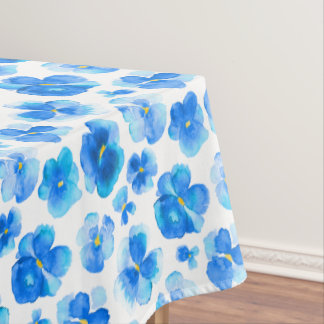 Watercolor blue pansy floral flower tablecloth