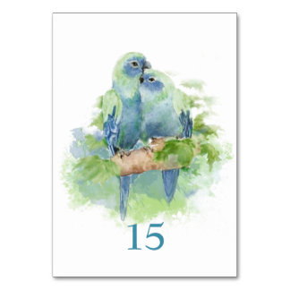 Watercolor Blue Parrot Tropical Bird Table Card