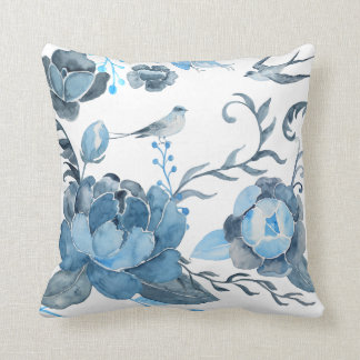 Watercolor blue peony and swallow Cushion