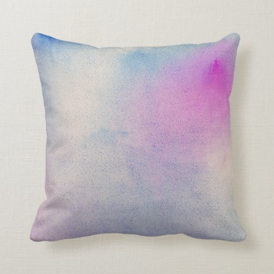 Watercolor blue pillow. Modern abstract purple Throw Pillow