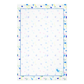 Watercolor Blue Pink Yellow Hearts Stationery