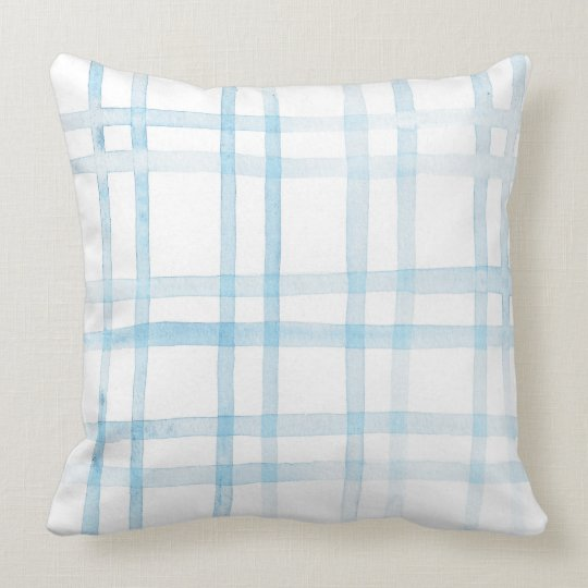 Watercolor Blue Plaid Pillow