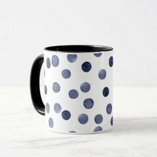 Watercolor . Blue polka dot Mug