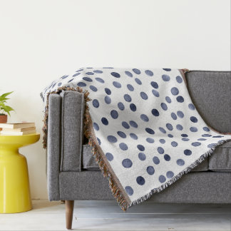 Watercolor . Blue polka dot . Throw Blanket