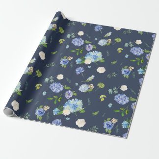 Watercolor Blue & Purple Hydrangeas Wrapping Paper