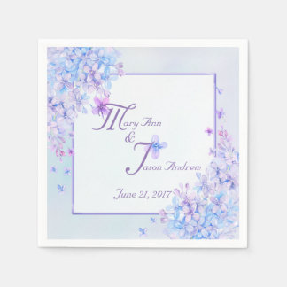Watercolor Blue Purple Lilac Flower Paper Napkins