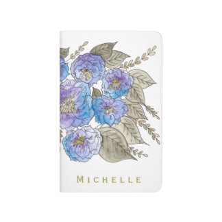Watercolor Blue Purple Rose Floral with Gold Name Journal