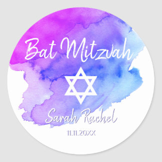 Watercolor Blue Purple Star of David Bat Mitzvah Classic Round Sticker