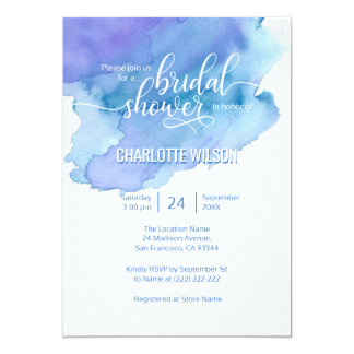 Watercolor Blue Purple Wedding Bridal Shower Card