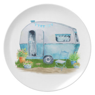Watercolor Blue Retro Vintage Camper Caravan Plate