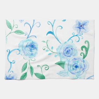 Watercolor Blue Rose Pattern Kitchen Towel